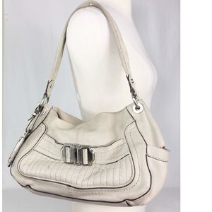 B. Makowsky ivory Leather Shoulder Bag purse
